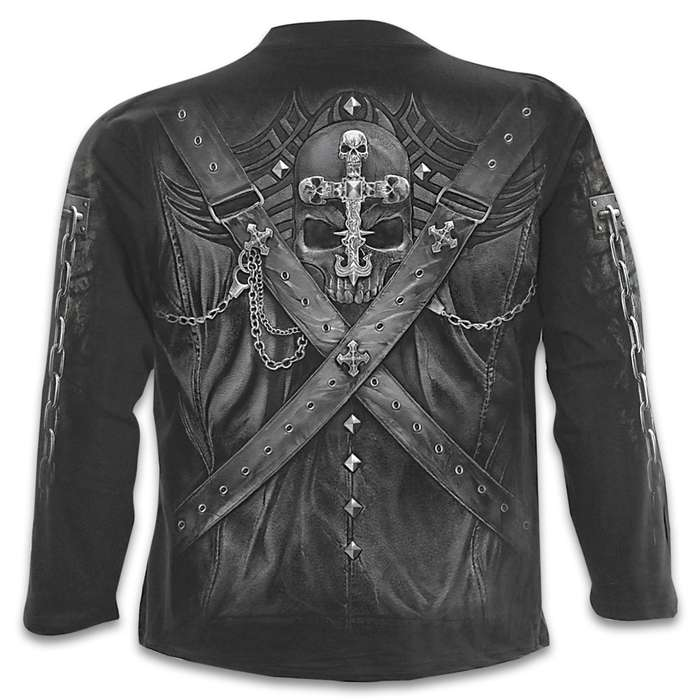Strapped Black Long-Sleeve T-Shirt - Original Artwork, Front And Back, Jersey Material, Skin Friendly Dyes