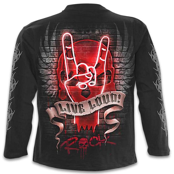 Live Loud Black Long-Sleeve T-Shirt - Original Artwork, Front And Back, Jersey Material, Skin Friendly Dyes