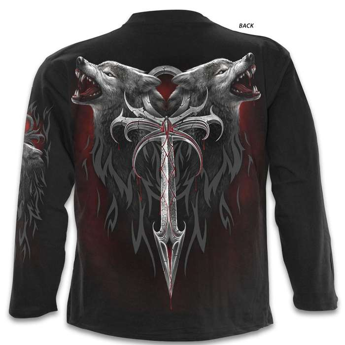 Legend Of The Wolves Black Long-Sleeve T-Shirt - Top Quality 100 Percent Cotton, Original Artwork, Azo-Free Reactive Dyes