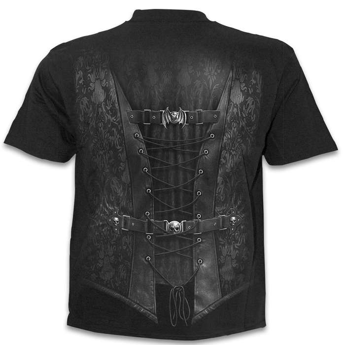 Waisted Black Short-Sleeved Wrap T-Shirt - Original Design Back And Front, 100 Percent Cotton Jersey, Skin-Friendly Dyes