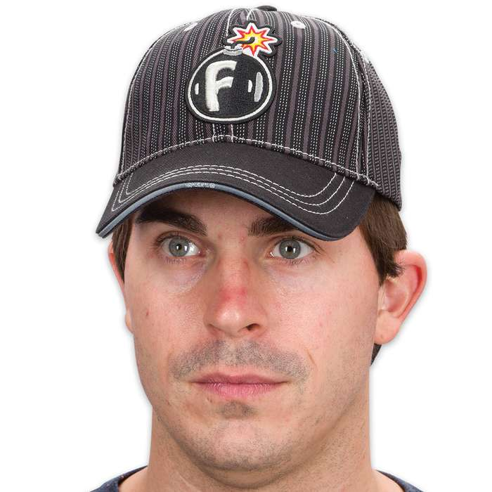 Double Down F-Bomb with Short Fuse Cap - Black Twill with Dashed Pinstripes