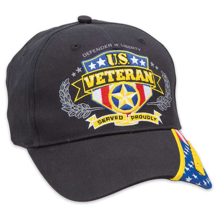 Double Down Defender of Liberty Veteran Black Light Cotton Twill Cap