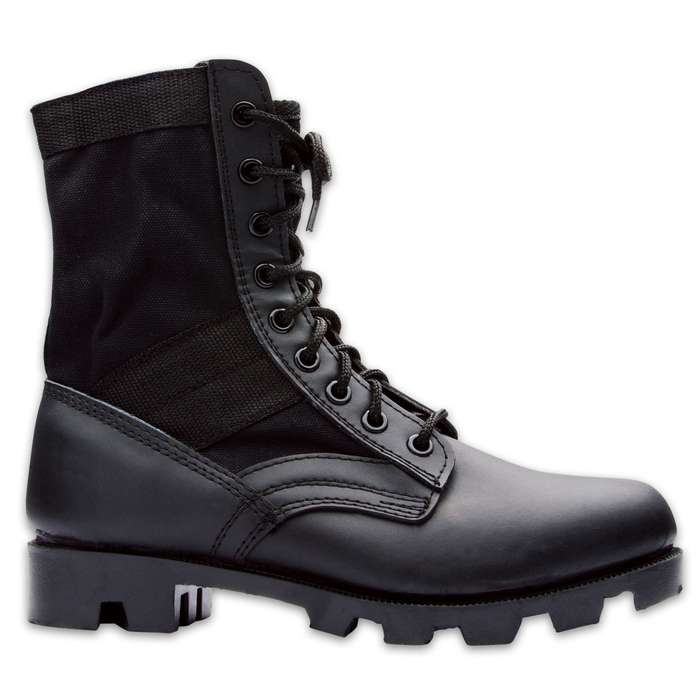GI Issue Military Jungle Boot Black Canvas Nylon Leather Toe Heel  5 8 10.5 12