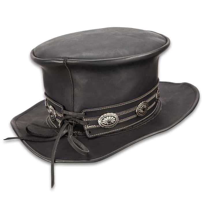 "Hard Rockin Black Leather Top Hat - Genuine Leather, Removable Hatband, Metal Medallion Accents - Diameter 13"""
