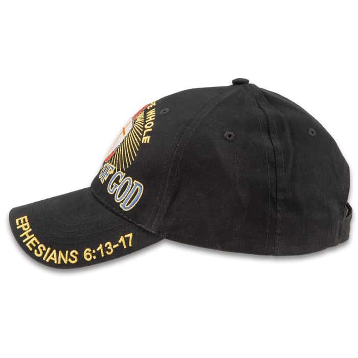 Armor Of God Knight Black Cap - Hat, 100 Percent Cotton Construction, Embroidered Artwork, Adjustable Velcro Strap