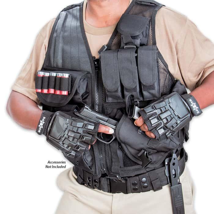 M48 OPS Black Mesh Tactical MOLLE Vest