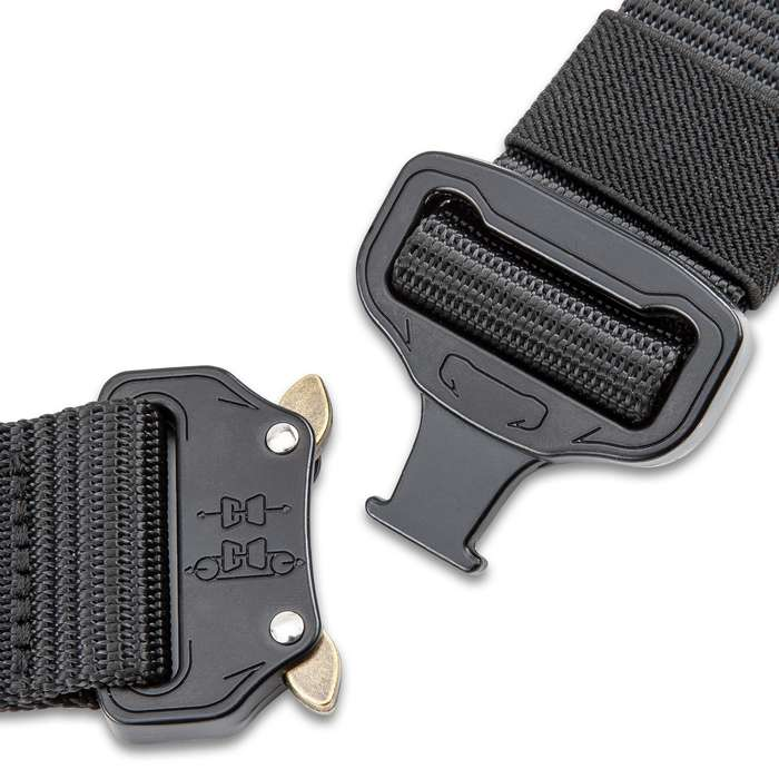 "M48 Black Quick Release Rigger's Belt - 1000D Nylon Webbing, Metal Buckle, Versatile, Adjustable, 1 1/2"" Wide - Length 48"""