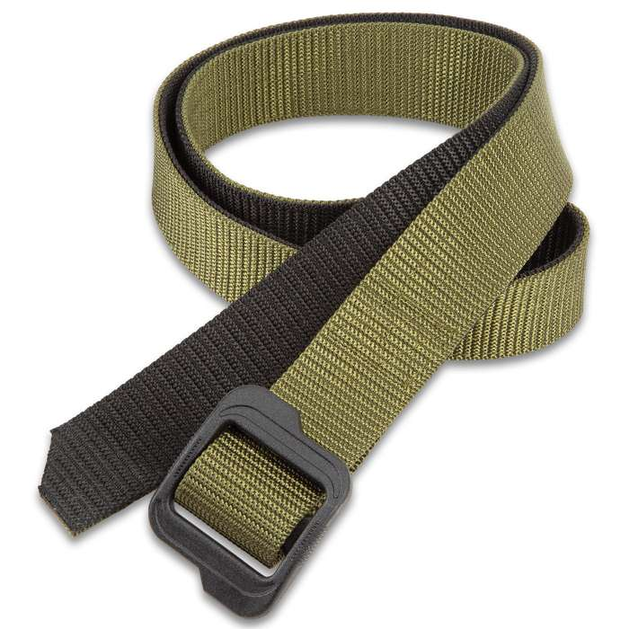 """M48 Double-Sided Belt - Nylon Webbing, Heavy-Duty ABS Buckle, Laser Cut And Sealed Tip, Adjustable Size - Length 49"""""""