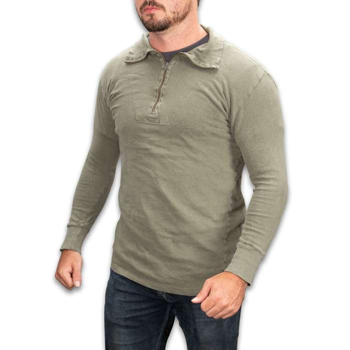 German Military Olive Drab Tricot Shirt With Zipper - Used, 100 Percent Cotton, Rib-Knit Cuffs, Quarter-Zip Neck