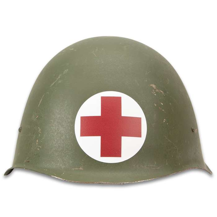 World War II Medic Helmet - Reproduction, Steel Construction, Leather Suspension, Chin Straps, One Size Fits Most