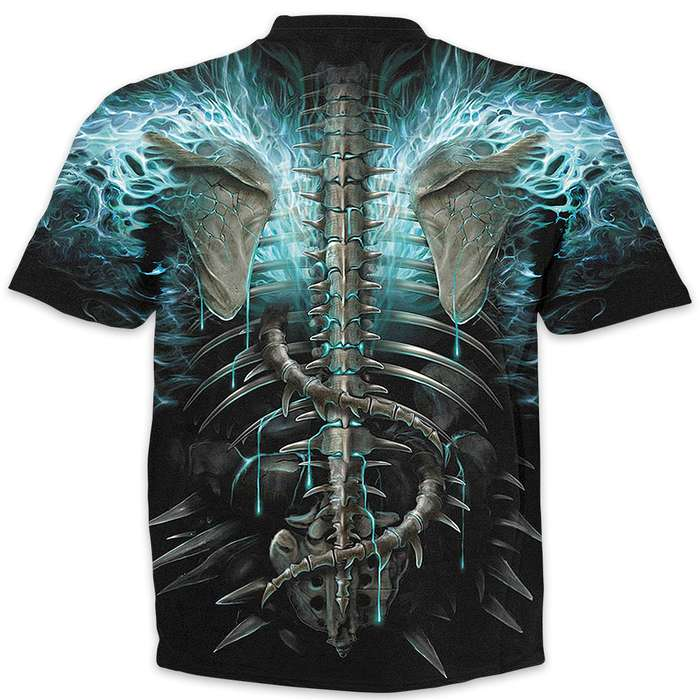 Black Flaming Spine Wrap - Allover T-Shirt