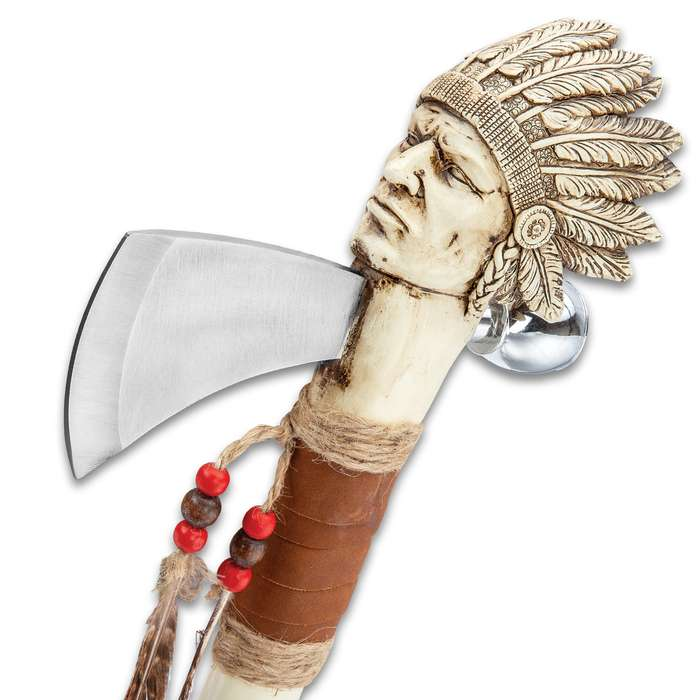 """Cherokee Tomahawk And Peace Pipe Replica - Stainless Steel Blade, Crafted Of Cast Polyresin, Feather Accents - Length 16"""""""