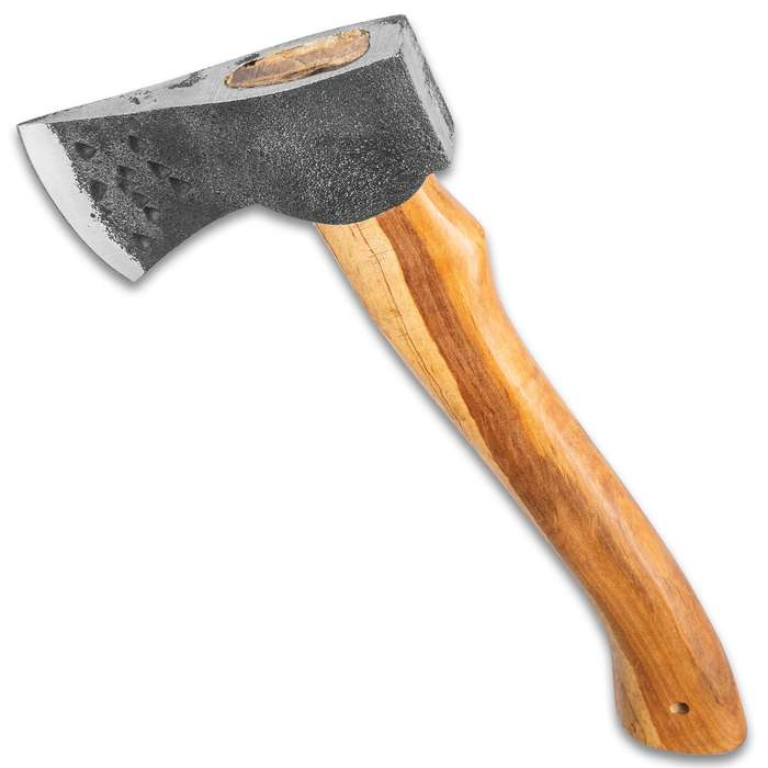 """Timber Wolf Appalachian Axe With Belt Sheath - 1095 Carbon Steel Rough Hewn Head, Wooden Handle, Lanyard Hole - Length 11"""""""