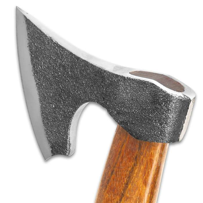 """Timber Wolf Viking Axe - Rough-Hewn Carbon Steel Head, Satin Blade Edge, Curved Wooden Handle - Length 12 1/4"""""""
