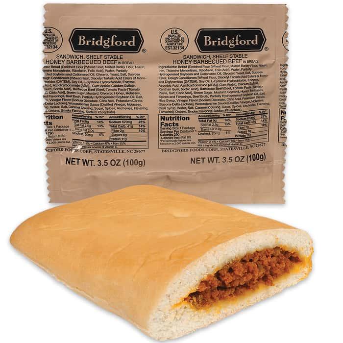 Bridgford MRE Honey BBQ Beef Sandwiches - 48-Count