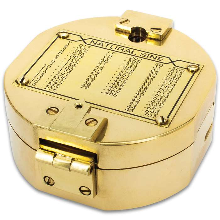 """Compass In Wooden Box - High-Quality Brass Construction, Mirror Inside Lid, Specialized Instrument - Dimensions 4""""X 4""""X 2"""""""
