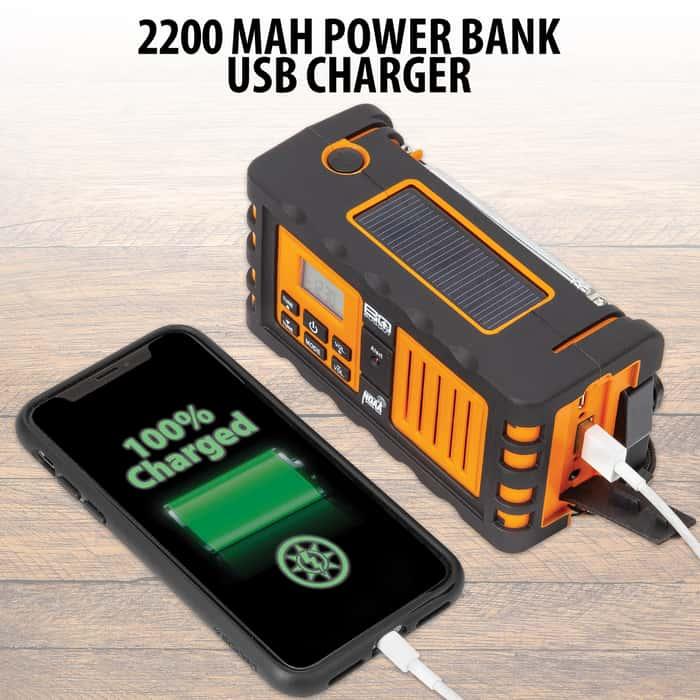 BugOut NOAA Weather Radio - Device Charger, 2200 mAH Lithium Ion Battery Backup - AM/FM, LED Flashlight, Emergency Alerts