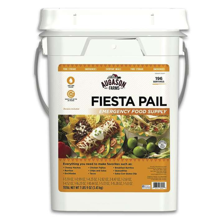 Augason Farms Fiesta Pail - 196 Servings Of Mexican Food, Individual Mylar Pouches, Breakfast, Lunch And Dinner, Up To 30 Year Shelf Life