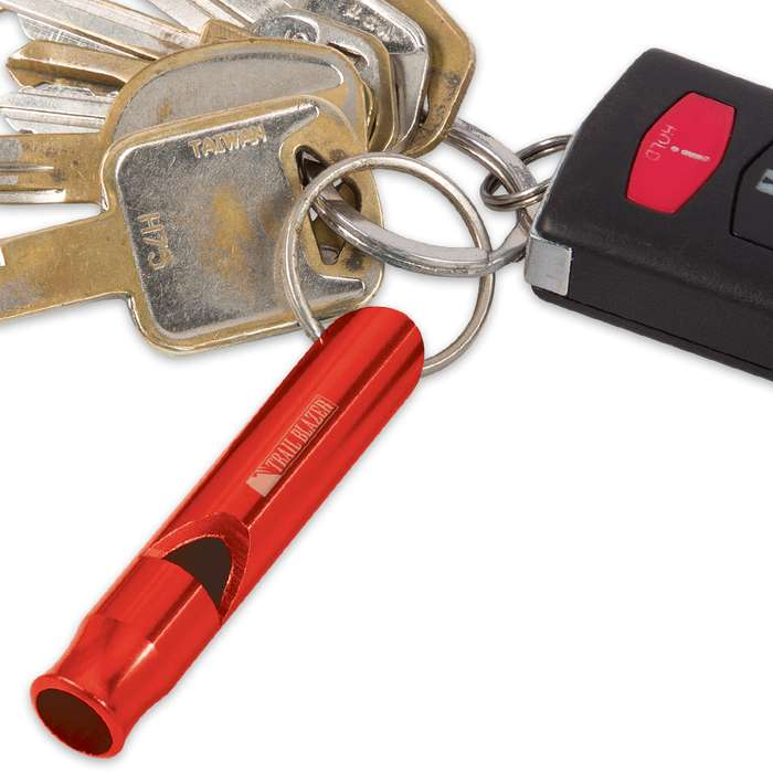 Trail Blazer Red Mini Aluminum Emergency Whistles - Three-Pack - Compact Construction, Keyring