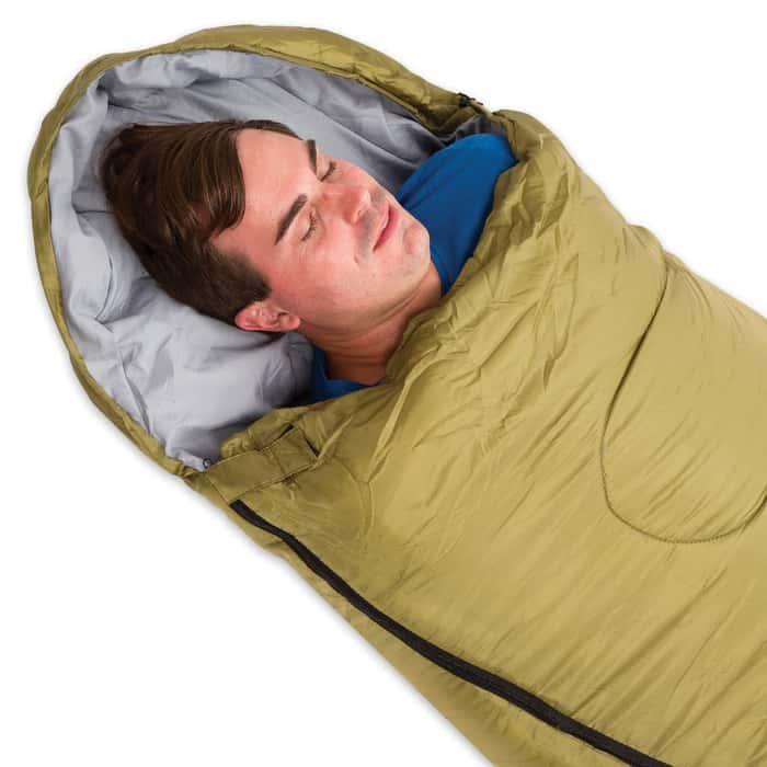 Intense 3-Season Mummy Sleeping Bag with Drawstring Shoulder Stuff Bag