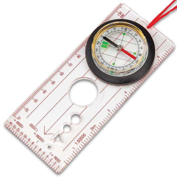 "Trailblazer Map Compass - Lightweight, Compact, Clear Plastic Base, Integrated Magnifier, Neck Lanyard - Dimensions 5 1/2""x 2 1/2"""