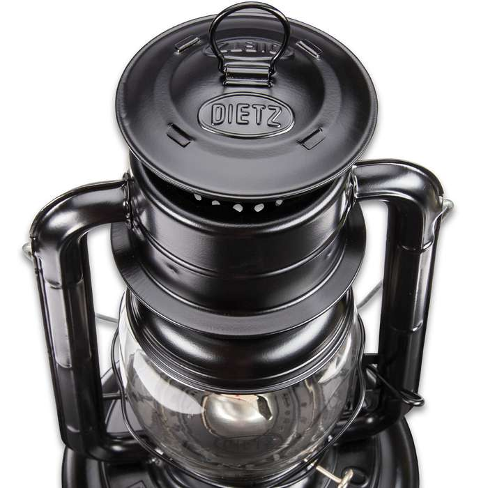 "Dietz Jupiter Black Hurricane Oil Lantern - Extra Large Base, 72-Hour Burning Time, 1,400 BTUs Per Hour, Flat Wick - 15"" Tall"