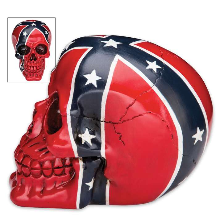 Dead Johnny Reb Confederate Flag Resin Skull