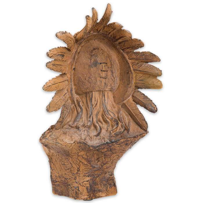 Faux Wood Native American Chief Sculpture