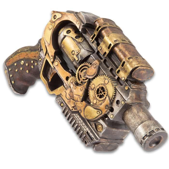 """Quantum Cannon Steampunk Display Revolver - Polyresin Sculpture - Home / Office Decor, Mantle, Bookcase, Shelf, Man Cave, Bar, Desk - Pistol Revolver Handgun Neo Victorian Futuristic Sci Fi - 10 1/2"""""""