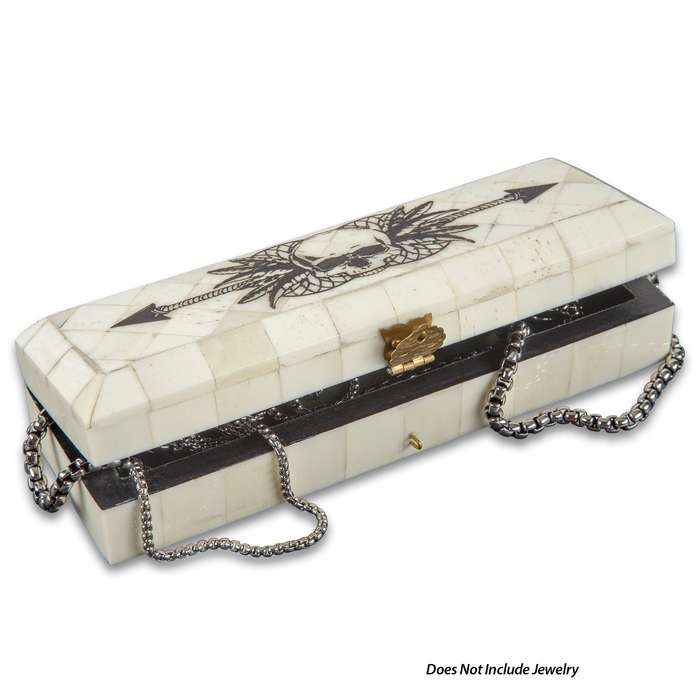 """Skull And Arrow Bone Box - Genuine Bone, Brass Hinged Lid, Etched Design, Felt Lined Interior And Bottom - Dimensions 7"""" x 2 1/2"""" x 1 1/2"""""""