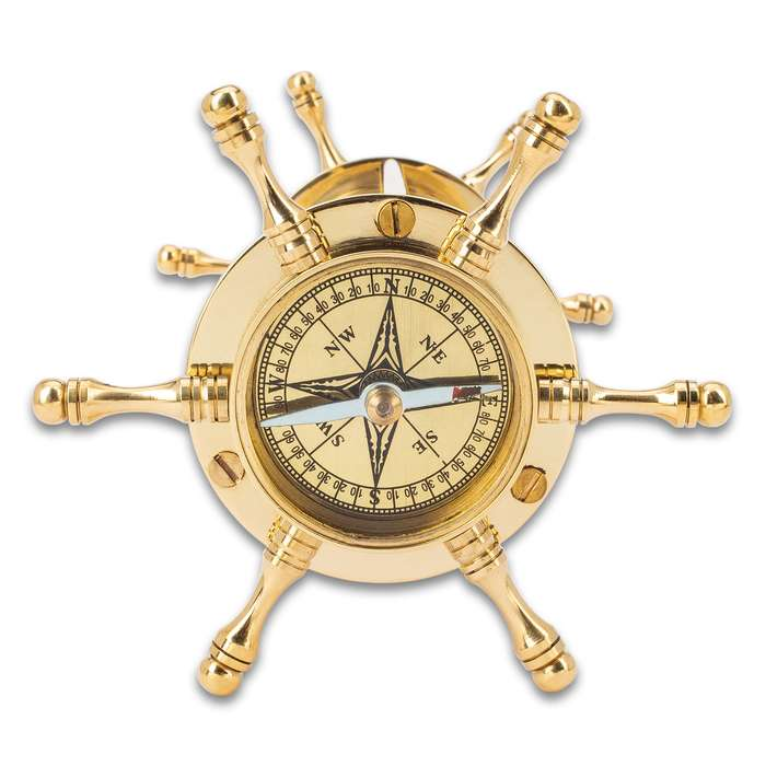 """Ship Wheel Sand Timer And Compass - High-Quality Polished Brass And Glass Construction - Dimensions 7""""x 4 1/2"""""""