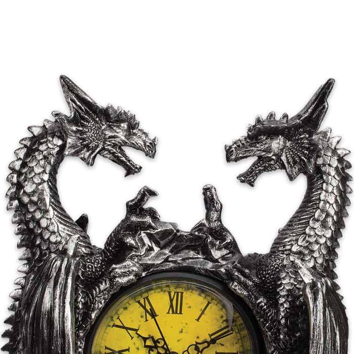 Dragonstar Clock - Vintage-Style Clock Set in Twin Dragons Resin Sculpture