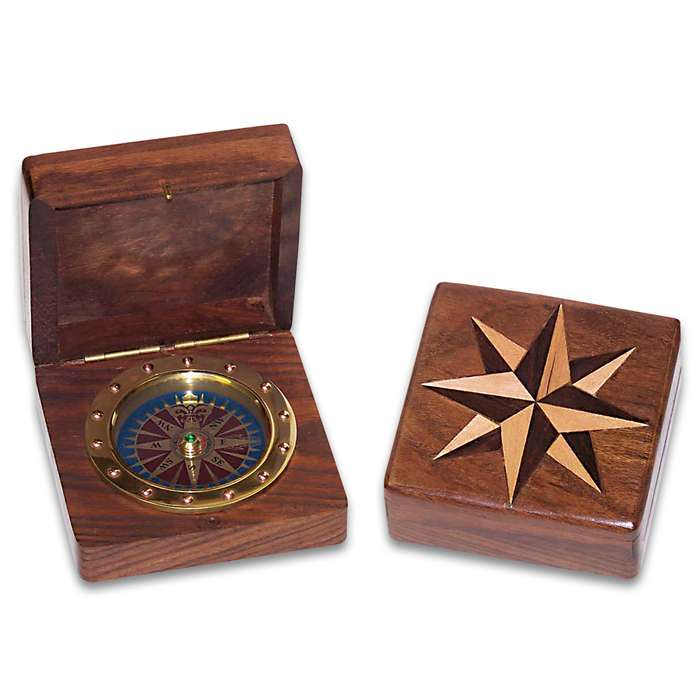 Compass Rose Box And Compass - Wooden Construction, Inlaid Design On Lid, Working Brass Compass, Great Gift Idea