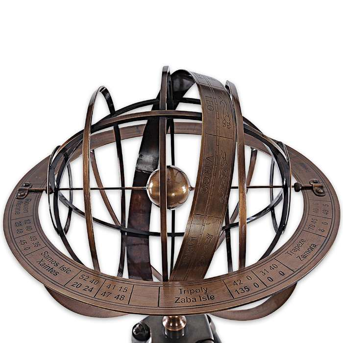 Antique-Style Brass Armillary Sundial Sphere with Wooden Stand - Bright Annealed Finish