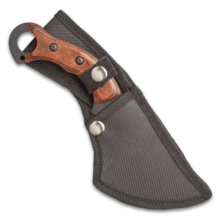 """Raven Fury Knife With Sheath - Stainless Steel Blade, Non-Reflective Finish, Wooden Handle, Open-Ring Pommel - Length 9"""""""