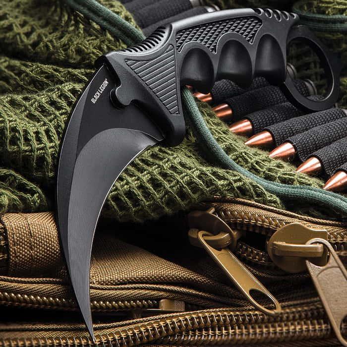Black Legion Ninja Warrior Karambit Neck Knife With Sheath