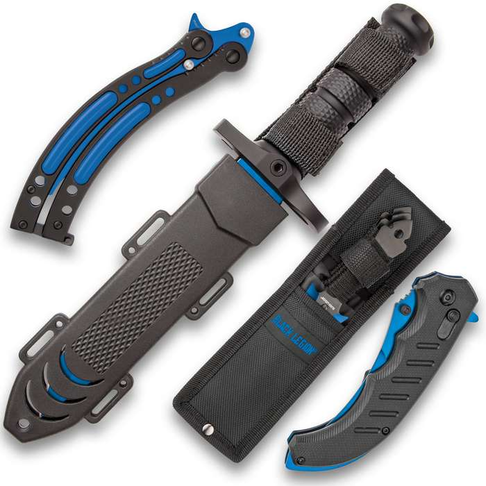 Black Legion Blue Streak Knife Set - Stainless Steel Blades, Heavy-Duty TPU Handles, Sheaths Included, Survival, Throwing And Pocket Knives, Butterfly Trainer