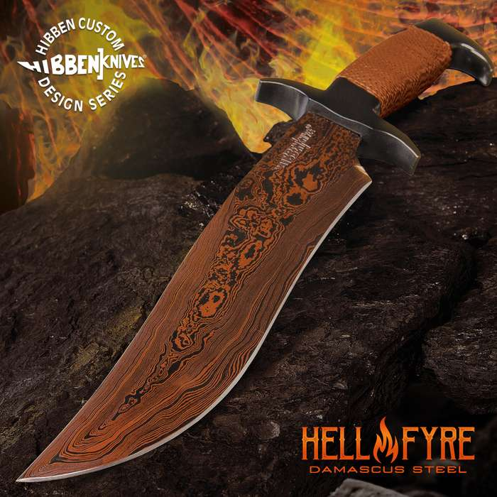 """Hibben HellFyre Highlander Bowie Knife With Sheath - HellFyre Damascus Steel, Wire-Wrapped Handle, Black Metal Pommel And Guard - Length 13 1/2"""""""