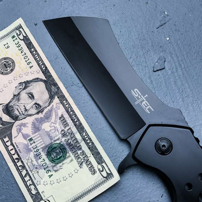 """Cleaver Matte Black Pocket Knife With Sheath - Stainless Steel Blade, Ball Bearing Assisted Opening - Length 12"""""""