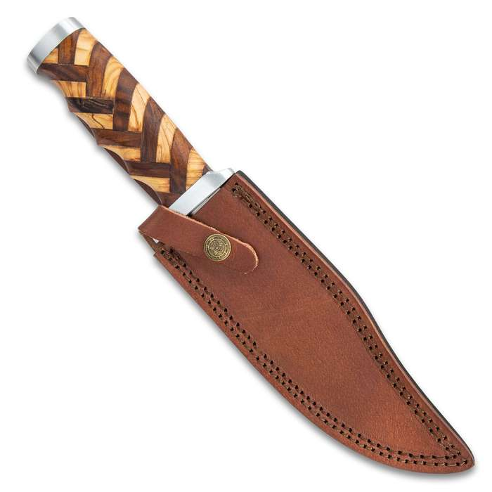 Timber Rattler Handcrafted Heirloom Bowie Knife And Sheath - Stainless Steel Blade, Walnut And Olive Wood Handle, Stainless Steel Guard And Pommel - Length 12""