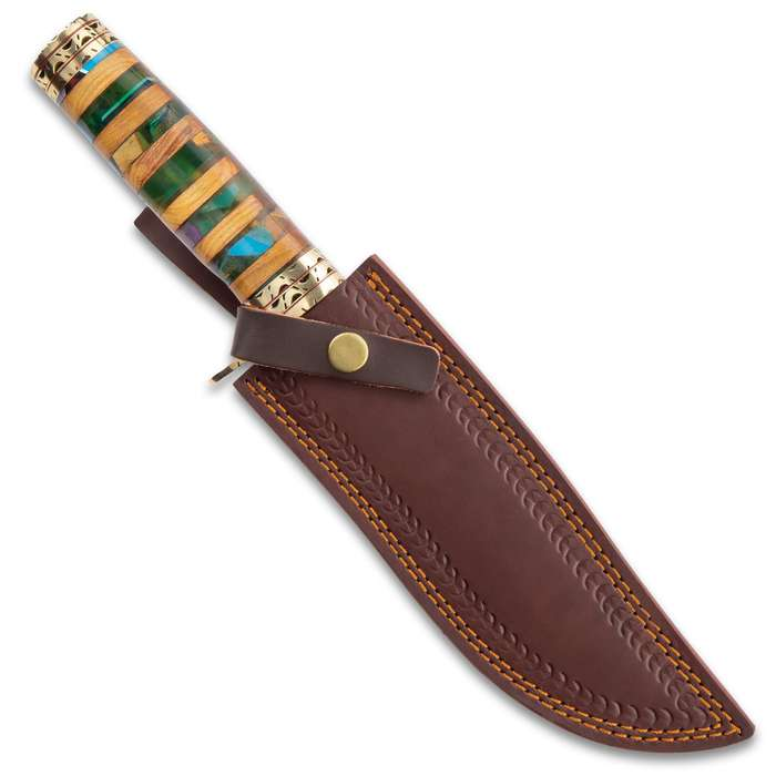 """Timber Wolf Macedonia Fixed Blade Knife With Sheath - Damascus Steel Blade, Acrylic And Wood Handle, Brass Pommel And Guard - Length 14 1/4"""""""
