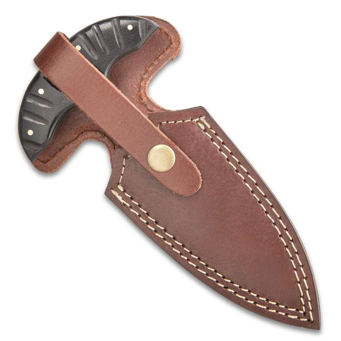 Timber Wolf River Gambler Push Dagger With Sheath - Damascus Steel Blade, Micarta Handle, Brass Pins, Rosette Accent - Length 7 1/4""