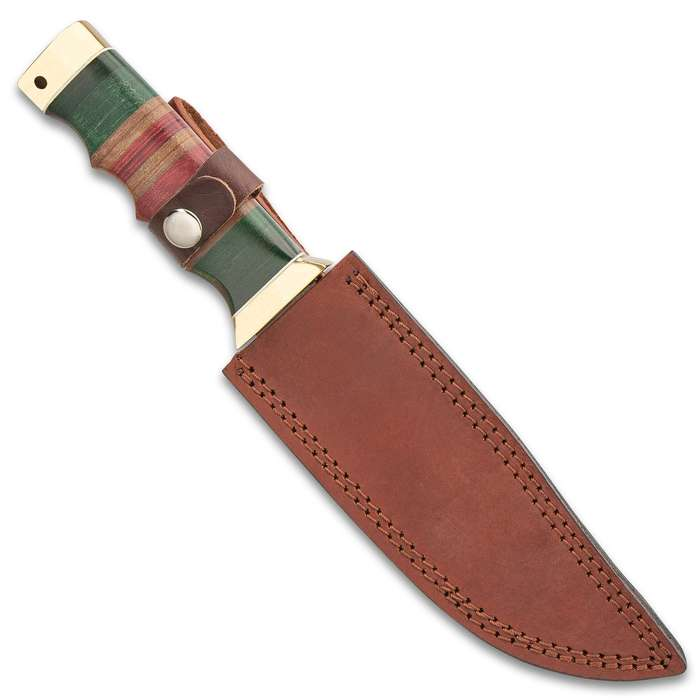 """Timber Wolf Vietnam Battle Worn Bowie Knife With Sheath - Stainless Steel Blade, Non-Reflective Finish, Stacked Micarta Handle - Length 11"""""""