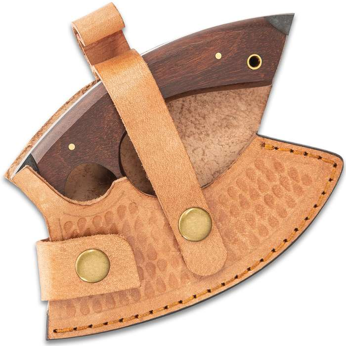 """Timber Wolf Compact Ulu Camp Knife With Sheath - High Carbon Steel Blade, Raw Finish, Tali Wood Handle Scales - Length 5 1/2"""""""