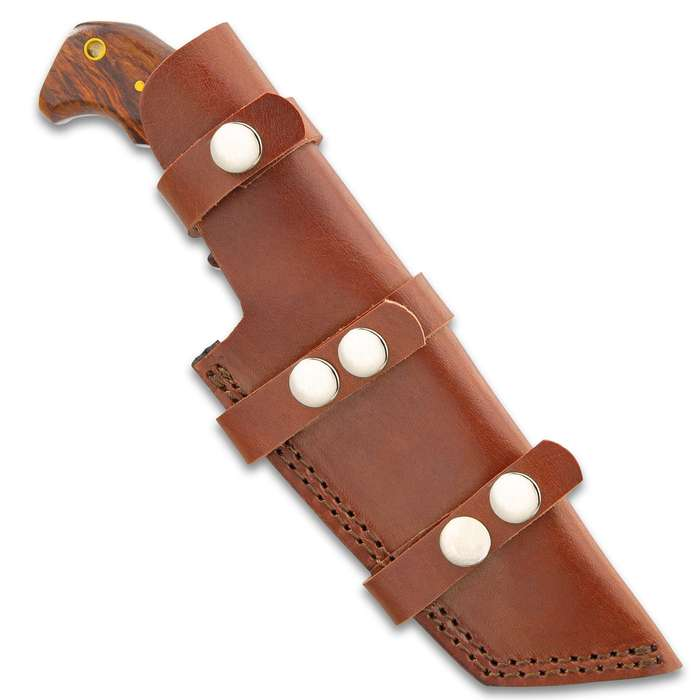 """Timber Wolf Trial By Fire Tracker Knife And Sheath - 1095 Fire Kissed Carbon Steel Blade, Hardwood Handle, Brass Pins - Length 9 1/2"""""""