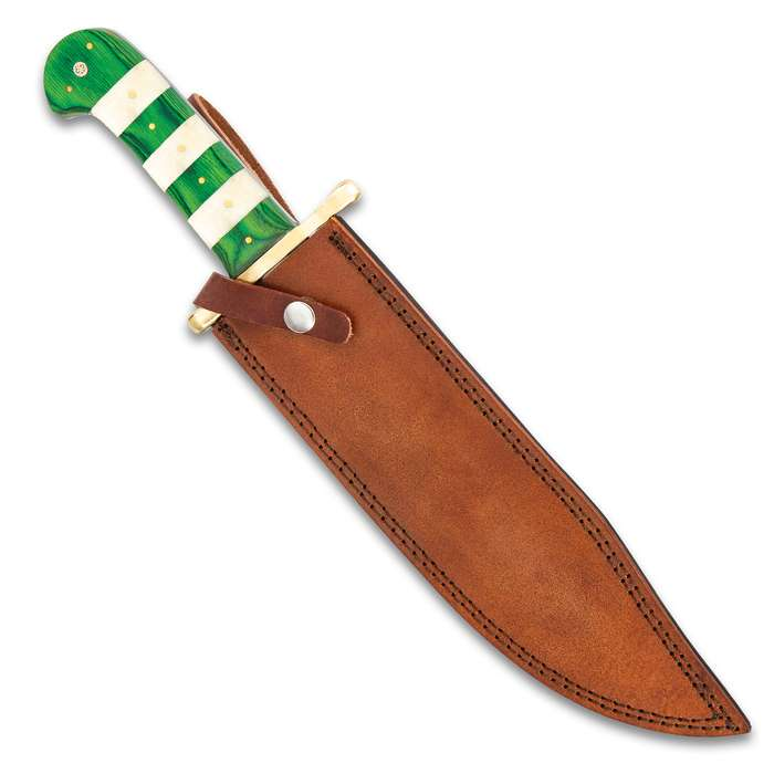 Timber Wolf Celtic Bowie Knife And Sheath - Stainless Steel Blade, Printed Artwork, Bone And Wood Handle Scales - Length 16""
