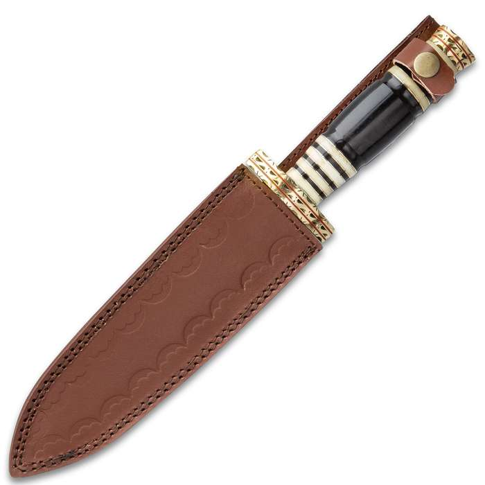 Timber Wolf Serengeti Knife With Sheath - Damascus Steel Blade, Genuine Horn Handle, Brass Spacers - Length 13 1/2""