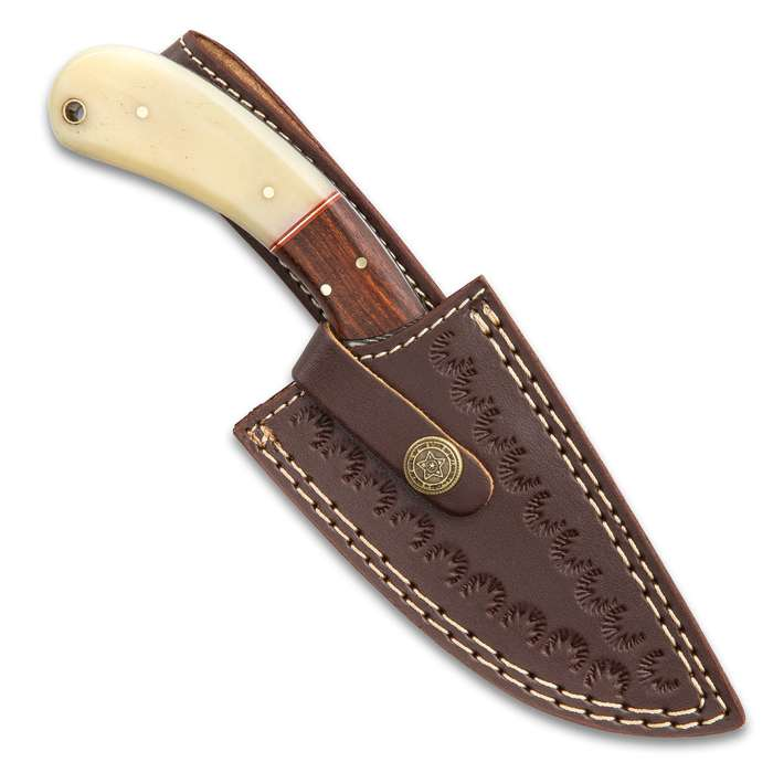 """Timber Wolf Oryx Hunter Knife With Sheath - Damascus Steel Blade, Almond Wood And Bone Handle, Brass Pins - Length 8 1/2"""""""