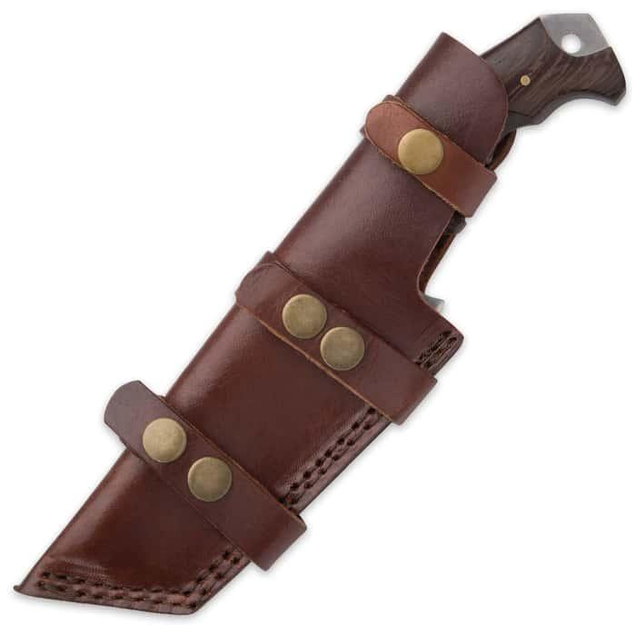 "Timber Wolf Big Game Tracker Fixed Blade Knife - D2 Tool Steel Blade, Walnut Wood Handle, Sawback, Length 9 1/2"""