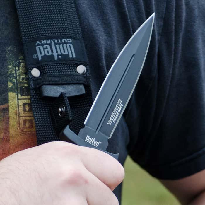 United Cutlery Commander Black Boot Knife and Shoulder Sheath